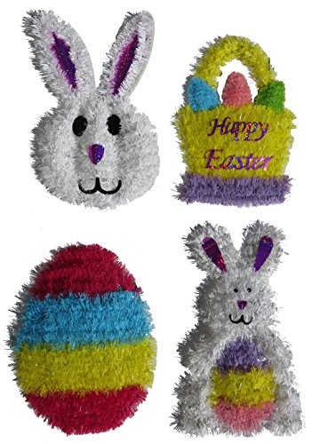 Tinsel Easter Wreath 4 Piece Set Bunny, Basket, Egg, Bunny with Egg Deluxe Decorations