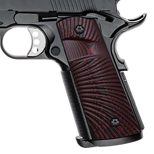 1911 Full Size G10 Grips, Magwell Cut ,Big Scoop, Ambi Safety Cut, Sunburst Texture, Cool Hand Brand, Red/Black
