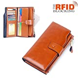 S&K-STYLE Womens RFID Wallets Large Capacity [ Multi Card Organizer Genuine Leather ]