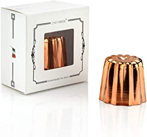 CHEFMADE Copper Canele Mold, 2-Inch Non-Stick Cannele Muffin Cup,Tinned Interior Made In Italy