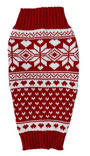 Red Fair Isle Knit Pet Sweaters Clothes for Small Dogs, Classic Medium M Size