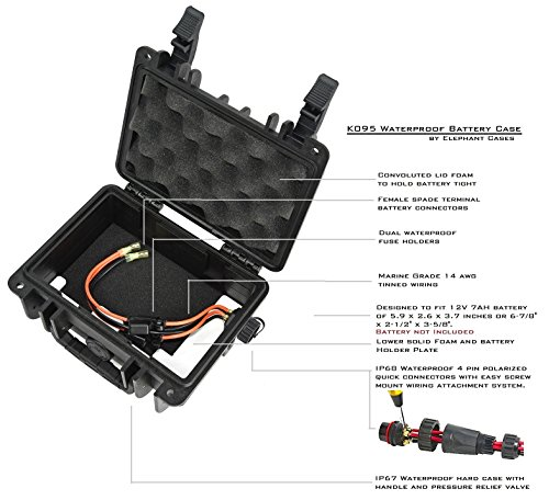 Elephant K095 Custom Made Kayak Battery Box, Boat Waterproof Battery Case for Powering GPS, Fish Finders, Led Lights, Aerator Pump and More. by Elephant Cases (Image #1)