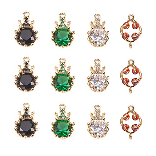 - 12pcs Crown Diamond Charm Pendant Dainty Dangle Flower Crystal Glass Connectors for Necklace Bracelet Ankle Earring Jewelry DIY Making