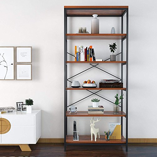 5-Tier Vintage Style Bookshelf, Multipurpose Wood Bookcase Display Storage Shelves for Home Office (Wood Wrought Bookcase And Iron)