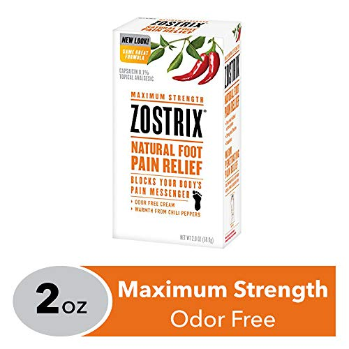 Zostrix Maximum Strength Foot Pain Relief Topical Analgesic Cream, Fast Acting Capsaicin Pain Reliever, Odor Free, 2 Ounce Tube