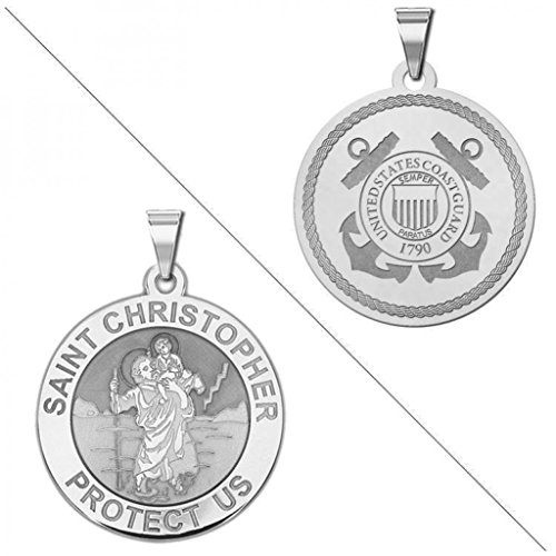 ubledside Coast Guard Religious Medal 1 Inch Solid 14K White Gold ()