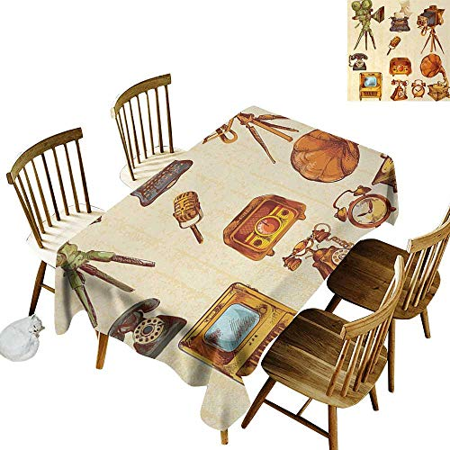 100% Polyester Washable Tablecloth for Rectangular Tables W54 x L90 Vintage Retro Technologic Telephone Camera Television and Gramophone Artwork Cream and Light Caramel Great for Party & More