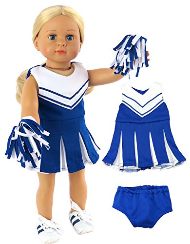 Blue and White Doll Cheerleader Outfit | Fits 18