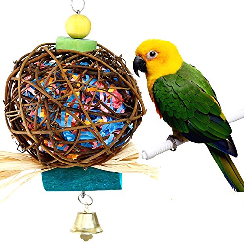 Parrot Chewing Toy for Small Medium Birds, QIBOX Natural Hand-made Chewing Hanging Toy, Rattan Ball Cage Toy Preening Toy for Bird Parrot African Budgie Macaw Parakeet Cockatiel Lovebird Cage Toy by QIBOX