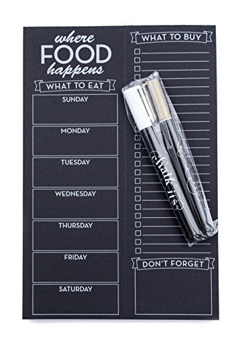 White Gold Markers (Chalk-Its Weekly Chalkboard Menu & Grocery List Planner w/White and Gold Liquid Chalk Markers, Perforated Black Paper Note Pad, Refrigerator Magnet, Gift Package, Bistro Design of Where Food Happens)