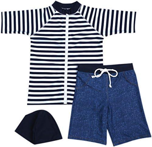 [スポンサー プロダクト]【Babystity】 男の子 水着 UPF50+ ボーダー柄 ラッシュガード 帽子 デニム柄 パンツ 80〜120cm