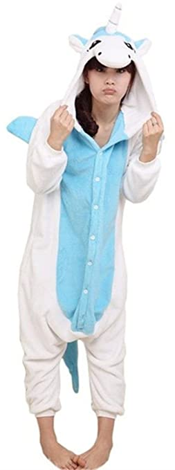 ABYED Kigurumi Pijamas Unisexo Adulto Traje Disfraz Adulto Animal Pyjamas,Unicornio azul Adulto Talla S