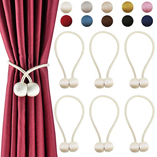 DELISIx 3 Pairs Magnetic Curtain Tieback 16 Inch Decorative Rope Holdback Simple Modern Tie Backs Holders for Home Curtains, White