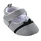 Luvable Friends Girl's Bow Dress Shoe for Baby, Black, 6-12 Months