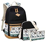 "Canvas School Backpack,Gazigo 3 in 1 Cute Animal 14"" Laptop Bookbags for Girls (8818 Black)"