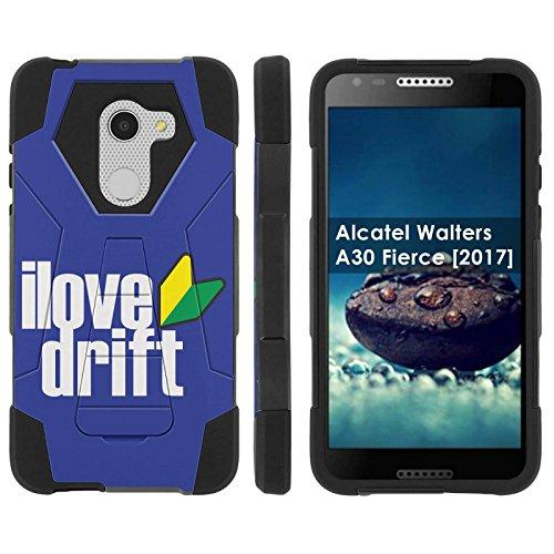 ([Mobiflare] Dual Layer Armor Case [Kickstand] for Alcatel REVVL /Alcatel Walters / Alcatel A30 Fierce [2017] [Black/Black] Mil-Spec - [I Love Drift])
