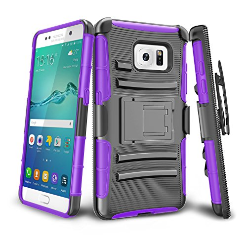 Samsung Galaxy S6 Case,Samsung Galaxy S6 S VI G9200 GS6 TILL [Knight Armor] Shock Absorbing Heavy Duty Full-body Rugged Holster Resilient Case [Belt Swivel Clip][Kickstand] Combo Cover Shell [Purple]