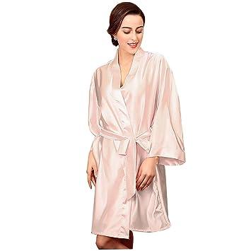 HUIFANG Pijamas De Satén para Mujer Color Sólido Bata De Baño Manga Larga Primavera Verano Y