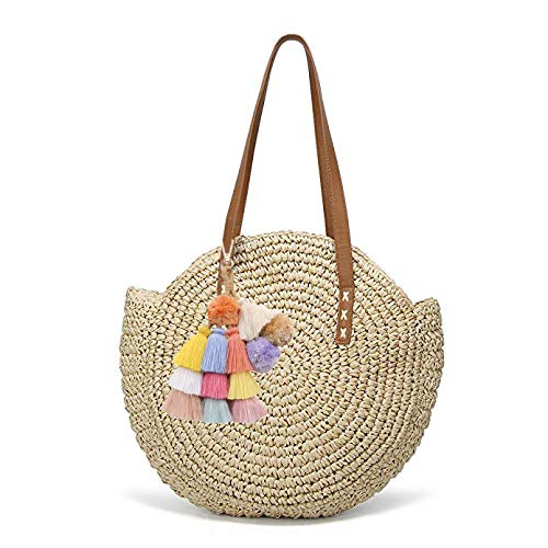 Colorful Boho Pompoms Tassel Bag Charm Summer Straw Bag Key Chain by Caissip (Image #2)