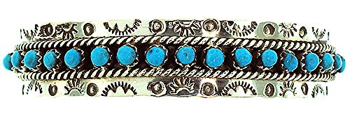 Navajo Turquoise Bracelet Jewelry - Made in the USA by Zuni Artist JP Ukestine. Beautiful Sterling-silver Turquoise Women's Bracelet