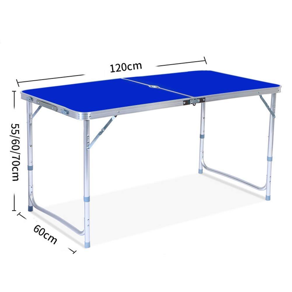 PM-TAIDU Klapptisch Tragbar Quadrat Camping Stall Tische Stuhl, Draussen Innen BBQ-Tisch Computertisch Laptop-Unterstützung Esstisch Schreibtisch, 120  60  70 cm,Blau,A