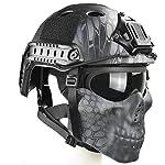 QZY Tactical Airsoft Casque Balistique - Double Straps Half Face Skull Mask - Lunettes, Armée Militaire Rapide PJ Casque… 8