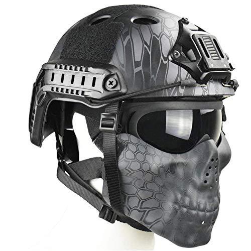 QZY Tactical Airsoft Casque Balistique - Double Straps Half Face Skull Mask - Lunettes, Armée Militaire Rapide PJ Casque… 3