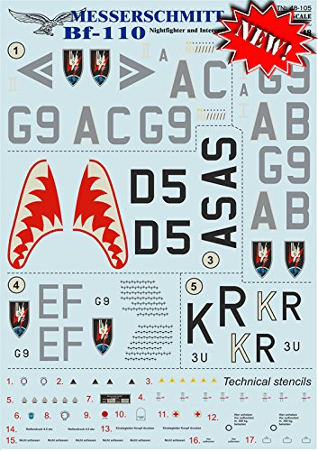 DECAL FOR AIRPLANE MESSERSCHMITT BF.110, PART 1 AIRCRAF for sale  Delivered anywhere in USA