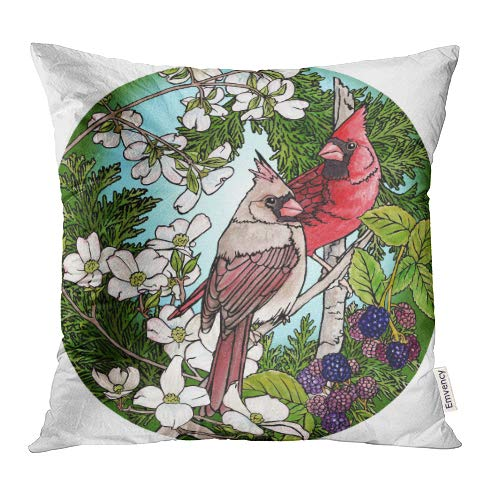 Emvency Decorative Throw Pillow Covers Cases Watercolor Flower Cardinals Berries Blossoms Brown Bird Dogwood Male Tree 16x16 Inch Case Cover Cushion Two Sided - Dogwood Tree Berries