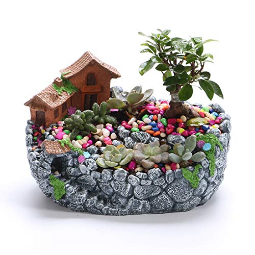 XINJINGHE Creative Plant DIY Container Jar Mini Fairy Garden Flower Plant and Sweet House Decoration, Holiday Decoration, Interior Decoration and Gifts (excluding Plants),Gray