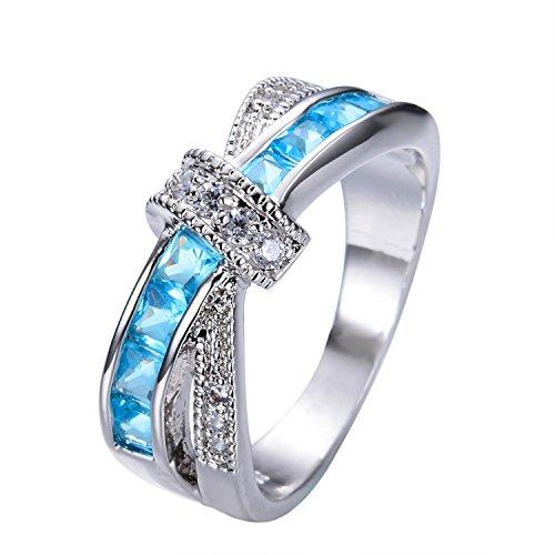 18k Tacori Cross (Delatcha Light Blue Cross Ring White Black Gold Filled rose gold engagement Ring)