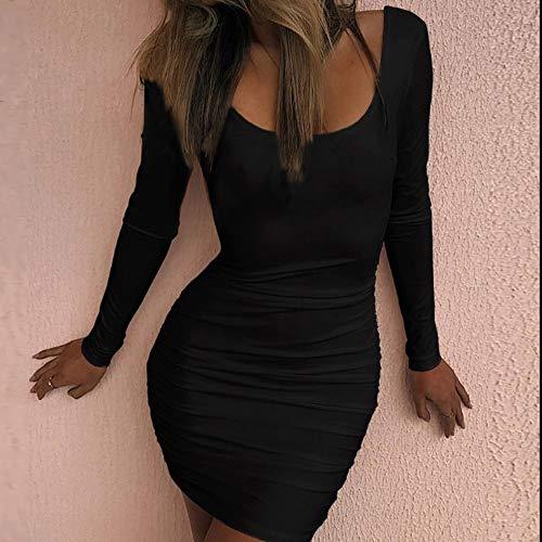 Elegante Lungo Natiche Donna Solido Vestito O Sexy Collo Vestito Manica Lungo Nero Moda Estivo Donne tAdtwnx