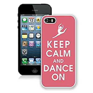 Graceful Apple Iphone 5s Case Keep Calm And Dance Elegant Pink Soft TPU Silicone White Phone Covers for Iphone 5