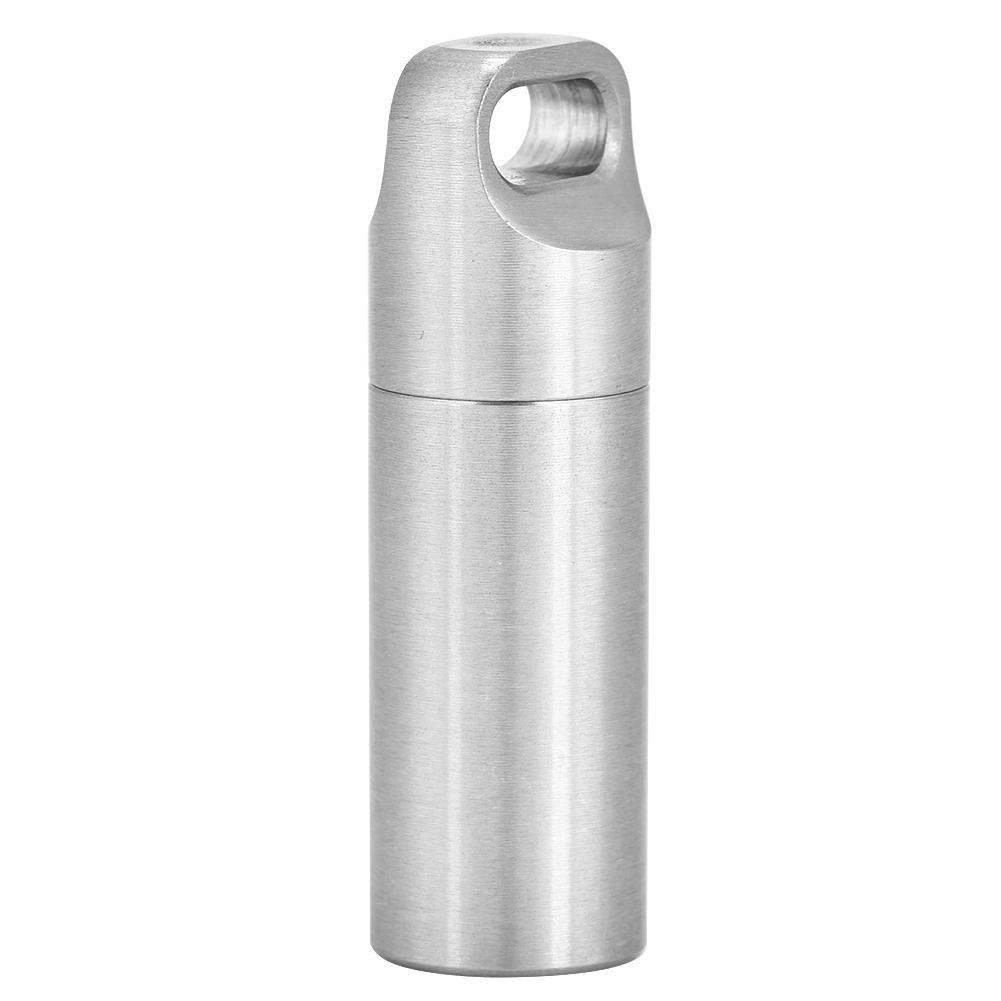 M Mini bottiglia di pillola di campeggio custodia in acciaio inossidabile portatile della medicina dellorganizzatore della droga con gli anelli di guarnizione per viaggio allaperto