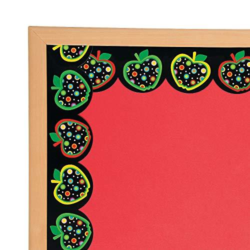 Apple Border - Fun Express - Dots On Black Apples Border - Educational - Classroom Decorations - Bulletin Board Decor - 12 Pieces