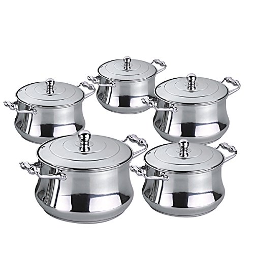 Riwendell Stainless Steel 10 piece Cookware Sets (GS-01148PS-10PC)