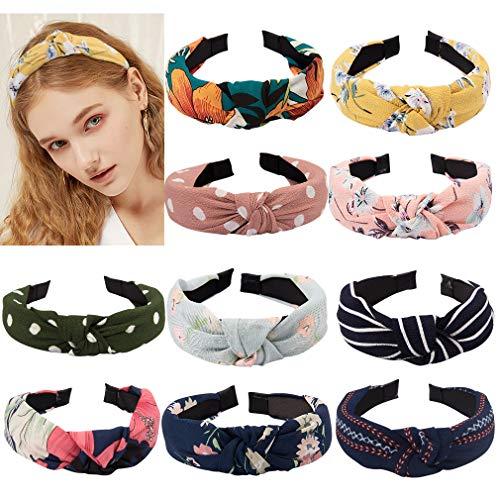 (TOBATOBA 10 pcs Bow Knot Headband Floral Twist Turban Headband Cross Knot Wide Headbands Hair Accessories for Women,10 Colors)