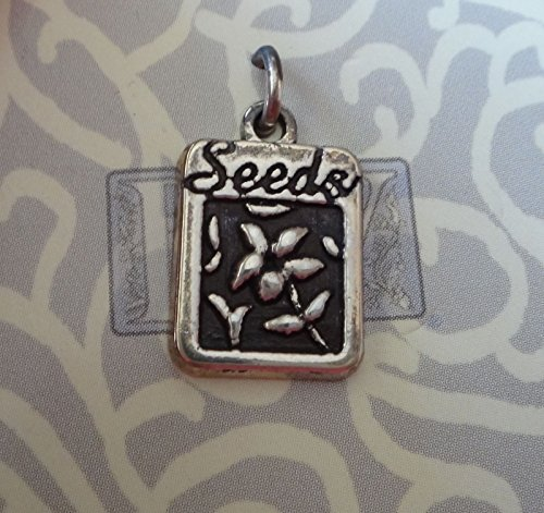 Sterling Silver 17x11mm Gardening Garden Flower Seed Packet says Seeds Charm Jewelry Making Supply, Pendant, Charms, Bracelet, DIY Crafting by Wholesale Charms