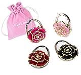 Vercord 4 Pack Rose Theme Foldable Instant Bag Handbag Purse Hangers Hooks, Flowers#8