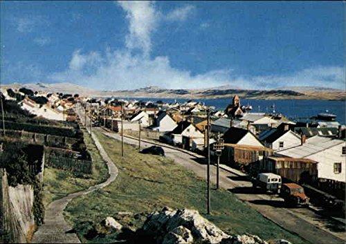 (View of Town and Coast Port Stanley, Falkland Islands Original Vintage Postcard )