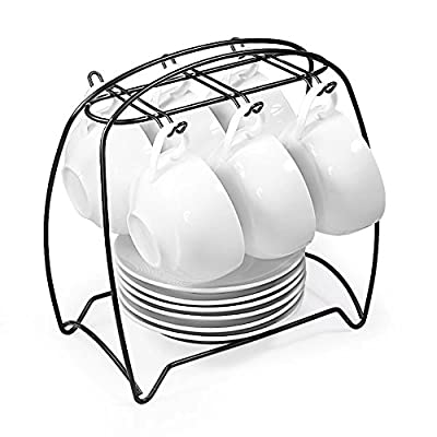77L Tea Cups and Saucers Sets, Set of 6, Ceramic Espresso Latte Coffee Cups and Saucers Set with Iron Display Stand - Coffee Cups and Saucers Set for Home and Office, White