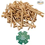 250 Count Bamboo Golf Tees 2-3/4 Inch Virtually Unbreakable - 7x Stronger Than Wood Tees, Premium, Eco-friendly, Natural Wood Color