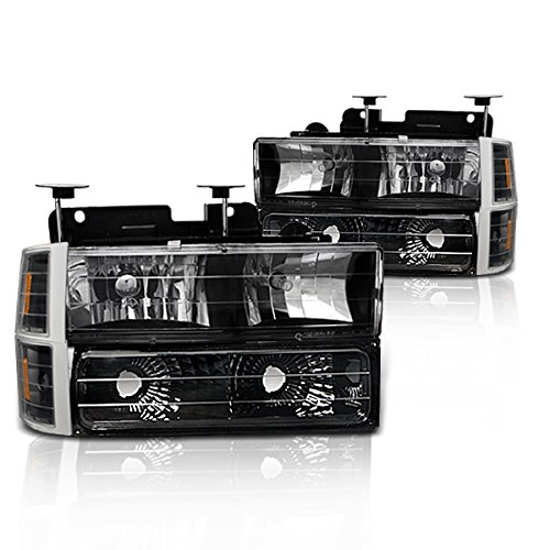 Instyleparts Chevy Fullsize CK C10 Clear Lens Headlights Parking Lights Corner Lights Set with Black Housing