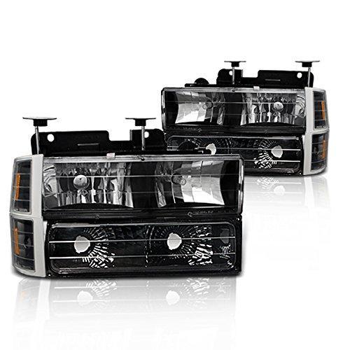 (Instyleparts Chevy Fullsize CK C10 Clear Lens Headlights Parking Lights Corner Lights Set with Black Housing)