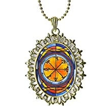 Solomons 6th Seal Saturn Causes Foes to Be Tormented By Demons Huge Light Gold Medallion Rhinestone Pendant