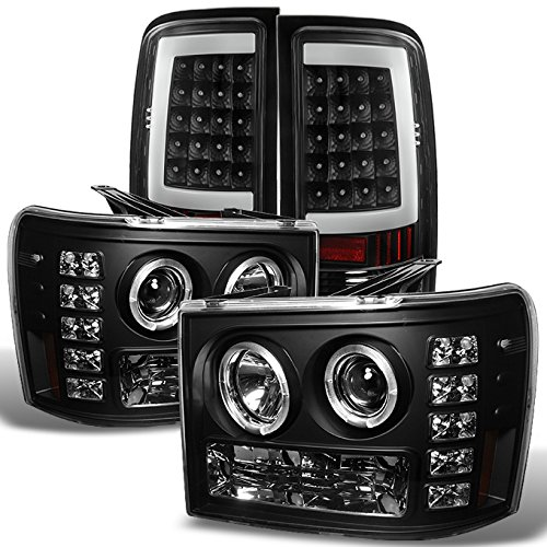 For GMC Sierra [LED Dual Halo Ring] Black Bezel Headlight + [C-SHAPE LED] Tail Brake Lights Lamp Set (Gmc Headlight Bezel)