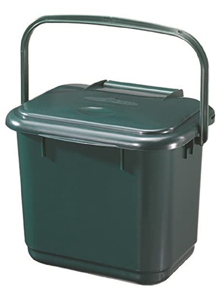 5 litre kitchen caddy compost food waste bin green with handle caddy - Kitchen Caddy