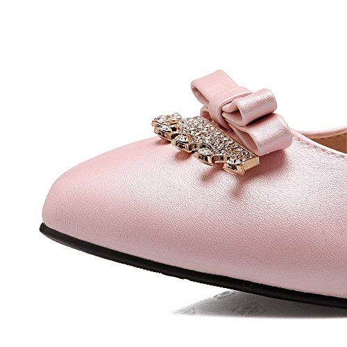 AllhqFashion Damen Rein PU Mittler Absatz Spitz Zehe Schnalle Pumps Schuhe Pink