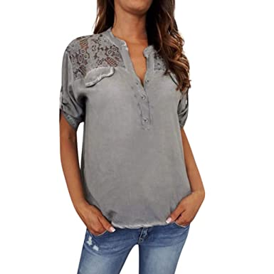 AOJIAN T Shirt Women Short Sleeve Shirts Solid Color V-Neck Applique Tunic Blouse Tanks Vest Tops at Amazon Womens Clothing store: