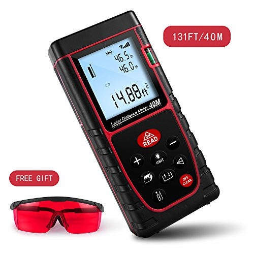 Digital Signal Meter Level (Laser Distance Measure, Warmhoming 131FT/40M Laser Distance Meter with 2 Bubble Levels, Backlit LCD and Pythagorean Mode, Digital Measuring Tool for Distance, Area, Volume Capacity Calculation)
